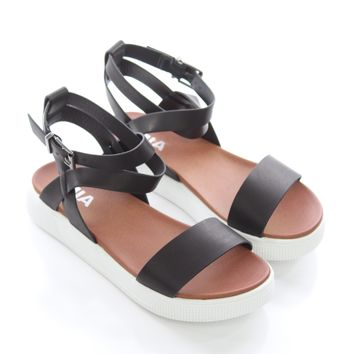 506781a361df Black Cross Strap Sandals - Mia