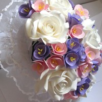 wedding bouquet lilac, lavender, pink, white. roses with freesias