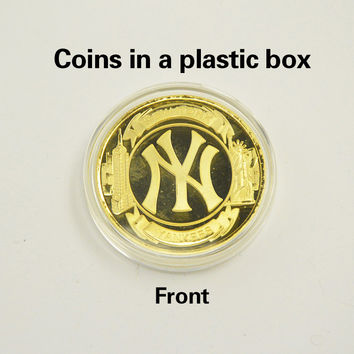 New Fashion Gold Plated Souvenir Coin New York Yankees NY Commemorative Coin Baseball Hip Hop Metal Coins