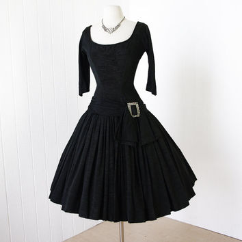 vintage 1950's dress ...exquisite SUZY PERETTE black heavy grosgrain slub textured full skirt cocktail dress with huge rhinestone buckle