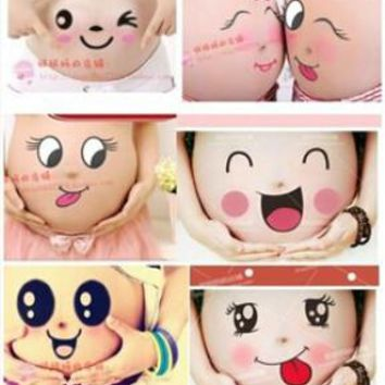 Free shipping For pregnant women therapy maternity photo props Pregnancy photographs belly painting photo stickers 25 style