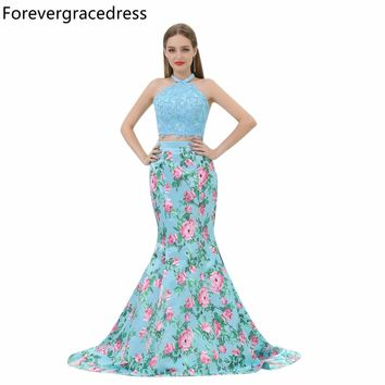 Forevergracedress Gorgeous Mermaid Prom Dress Sexy Halter Two Pieces Backless Long Evening Party Gown Plus Size Custom Made