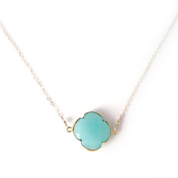 Suspended Turquoise Quatrefoil on Gold Satellite Chain | Blue Chalcedony Clover Neckalce | Delicate Layer Necklace