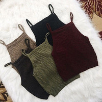 Fashion Women Knitwear Sleeveless Tops Shirt Blouse Casual Crop Tops Tamls Camis Camisole