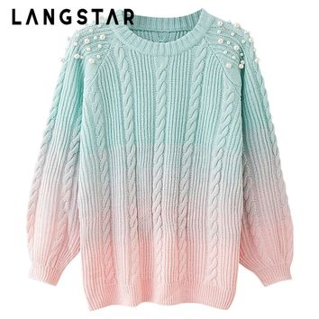 LANGSTAR Plus Size Pearl Sweater Women Round Collar Long Sleeve Beaded Color Blocking Soft Women Sweater Rainbow Pullovers