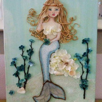 Mermaid Wall Art- Beach Decor- Coastal Cottage- Mixed Media- Mermaid Bathroom- Acrylic Painting -  16X20 inches