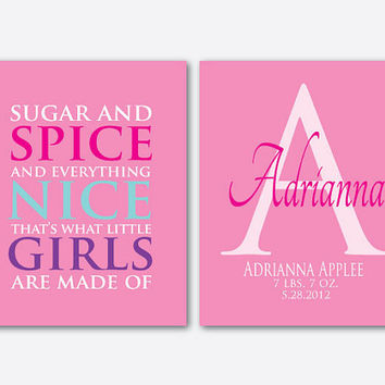 Sugar and Spice and everything nice - Customizable girl's room wall art - Personalize - two 8 x 10 prints Typography - nursery rhythm