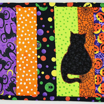 Halloween Quilted Mug Rug, Handcrafted Coaster, Handmade Orange Mug Rug, Spooky Black Cat, Halloween Decor