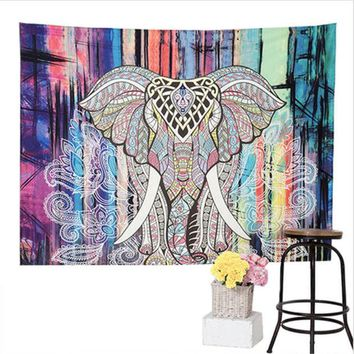 LMF9GW Elephant Tapestry Colored Printed Decorative Mandala Tapestry Indian Boho Wall Carpet 150*130cm JD176