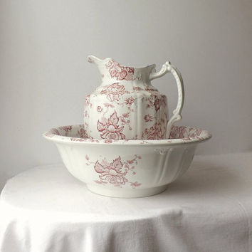 Antique Winkle Red Transferware Ironstone Pitcher and Wash Basin Bowl, F. Winkle & Co Avon England, Shabby Cottage Chic Home Decor