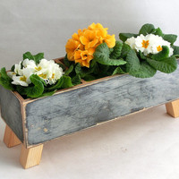 FREE SHIPPING - Wooden Planter, Windowsill Flowerpot, Herb Planter Kitchen, Spring Planter, Home garden, Herb garden ,Spring garden