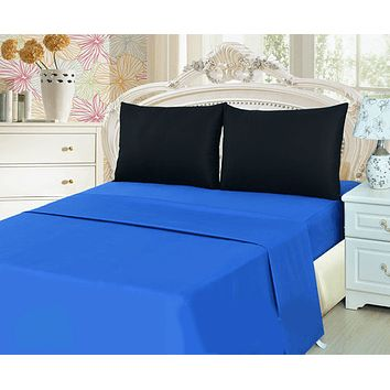 Tache Cotton Deep Blue and Black Bed Sheet set (BS4PC-BB)