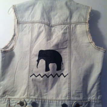 Elephant Zoo Safari bleached denim vest size by GlitternLace