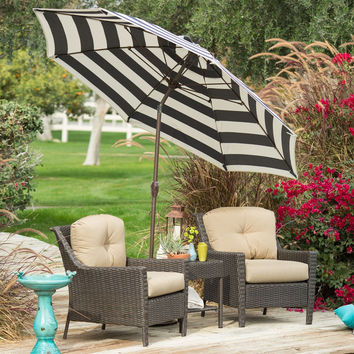 Stylish 9-Ft Market Patio Umbrella with Crank & Tilt in Navy & White Stripe