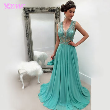 2017 Emerald Green Beading Long Prom Dresses Party Evening Gown Dress V-Neck Chiffon Zipper Back Court Train