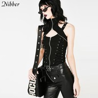 Nibber sexy ladies camisole metal style camisole halter short women's fashion trend Gothic style 2018 autumn winter hot sale