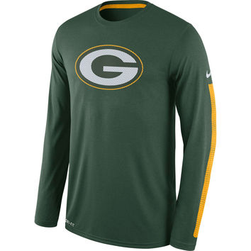 Men's Green Bay Packers Nike Green Legend Logo Long Sleeve Performance T-Shirt