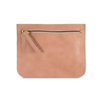 Peach leather wallet by Leah Lerner