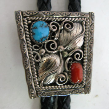 Vintage 1980s Bolo Necktie-Sterling Silver Southwestern Turquoise Cabochon Stone Country Lariat