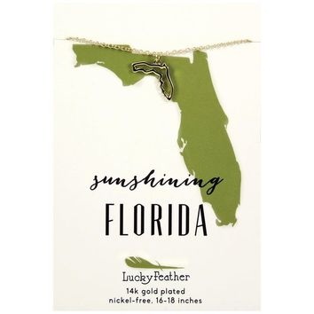 State of Florida Necklace in 14k Yellow Gold-Plate