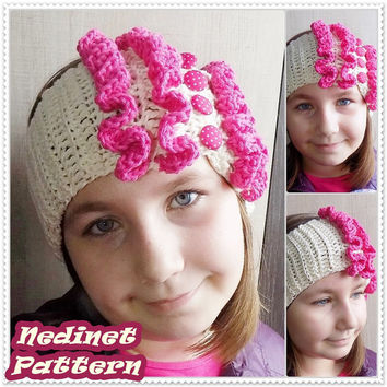 Crochet pattern, Frilly Crochet Headband pattern, Crochet Headband pattern, Ear Warmer pattern, Child, Teen, Adult, Woman headband PATTERN