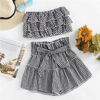 Gingham Bandeau Top With Shorts