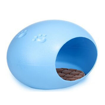 Cute Egg-Shaped Pet House Puppy Doggie Cat Small Animal Indoor Bed Cushion Mat Blue
