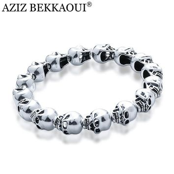 AZIZ BEKKAOUI 925 Silver Skull Beads fit Pandora Charm Bracelets Cool Skull Head Charms for Men DIY Beads for Jewelry Making