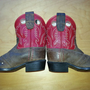 Vintage Cowboy Boots / Children's Size 7 / Genuine Leather Brown and Red / Kid's Western Boots / 1960's 1970's