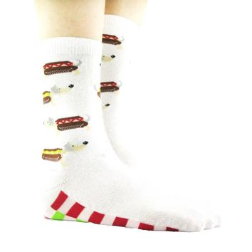 Adorable Hot Dog Dachshund Print Cotton Socks for Women in White
