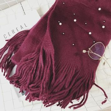 Designer Women Warm Knitted Beaded Soft Scarf