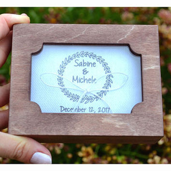 Personalized ring bearer box with a glass lid,calendar ring box, wedding box, wedding ring box,ring bearer pillow alternative ,ring holder