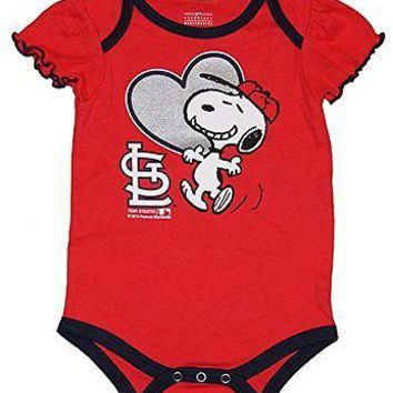 St. Louis Cardinals Infant Girls Creeper Snoopy Peanuts Baby Romper MLB Apparel