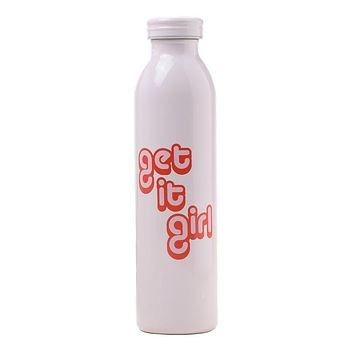 Get It Girl Water Bottle in White and Pink