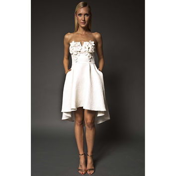 NARCES Lula White Embellished Strapless High-Low Occasion Dress