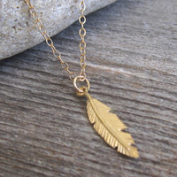 Men's Necklace - Gold Filled Feather Pendant - Mens Jewelry - Feather Jewelry - Feather Necklace - Gift For Him