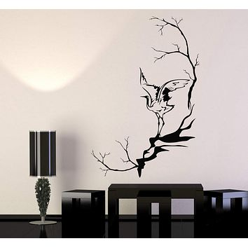 Vinyl Wall Decal Heron Bird Tree Branches Asian Style Stickers Unique Gift (1088ig)