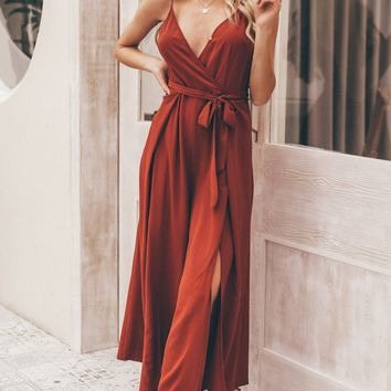 Remember The Time Floral Pattern Sleeveless Spaghetti Strap Cross Wrap V Neck Loose Split Wide Leg Jumpsuit - 2 Colors Available