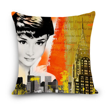 "Classic Ladies Print Decorative Cushion Throw Pillow 18"" Vintage Cotton Linen Square Pillows"