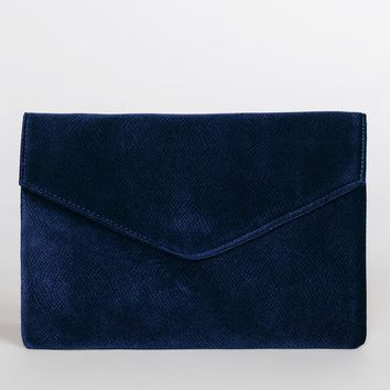 Keegan Velvet Clutch - Navy