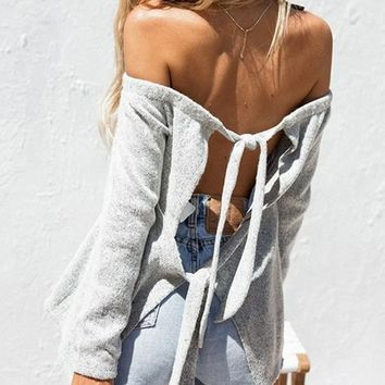 New Grey Off Shoulder Backless Tie Back Long Sleeve Casual Sweater