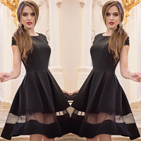 Round collar pure color stitching gauze dress