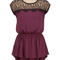 High-Low Peplum Top with Lace