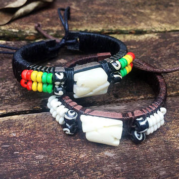 Elephant Charm Stone Bead Leather Bracelets Southwest Boho Tribal Festival Women Mens jewelry Accessories gifts for Vegan Hippie in Handmade