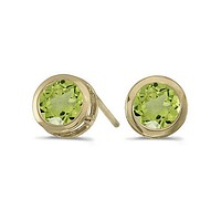14K Yellow Gold Round Peridot Bezel Stud Earrings (1ct tgw)