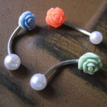 16 Gauge Tiny Pearl Rose Rook Eyebrow Piercing Ring Ear Earring Stud Jewelry Bar Barbell Neon Orange Hot Pink