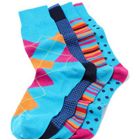 Men's 4-Pair Boxed Sock Set, Blue Multi