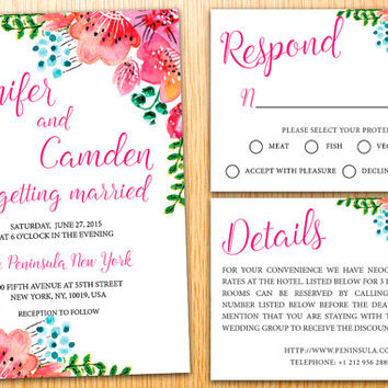 Personalized DIY Printable Wedding Invitation Suite Bohemian Watercolor Flower Floral Wedding Set Customize Wedding Invite Set