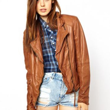 Muubaa Kendyll Distorted Leather Biker Jacket