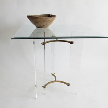 Lucite and Brass Side Table atr to Charles Hollis Jones. Mid Century. 1970s Modern